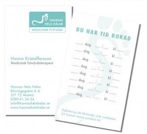 visitkort till Hannas Hela Hälar - Medicinsk fotvård