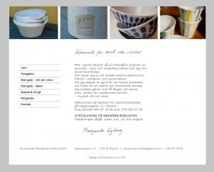 Hemsida Margareta Kylberg - keramik för mat och växter