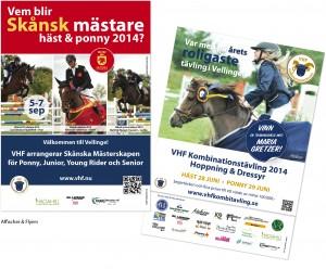Affischer_flyers_SkånskaMästerskapen_hästhoppning_Kombitävling_hoppning_dressyr_VellingeHästsportförening_by epafi